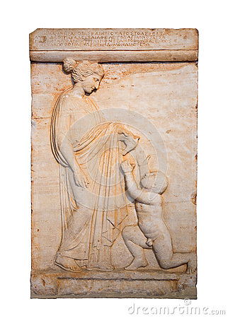 Marble grave stele shows a girl offering a bird to a naked boy