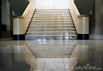 Marble lobby stairs