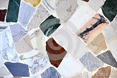 Marble pieces coloured floor