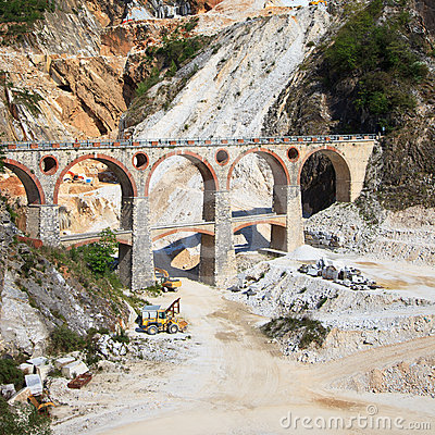 Marble quarry, bridge excavators. Carrara, Tuscany