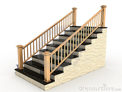 Marble staircase with wooden handrail №3
