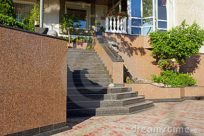 Marble stairs to building