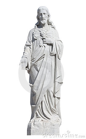 Free Marble Statue Of Jesus Christ Isolated On White Royalty Free Stock Photos - 19256298