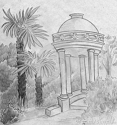 Marble summerhouse and palms