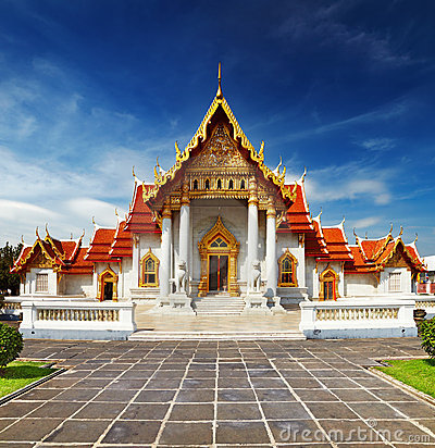 Free Marble Temple In Bangkok Royalty Free Stock Photo - 23002545
