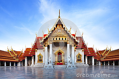 Marble Temple (Wat Benchamabophit Dusitvanaram), major tourist attraction, Bangkok, Thailand. Stock Photo