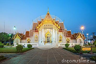 The Marble Temple, Wat Benchamabopitr Dusitvanaram Bangkok THAIL Stock Photo