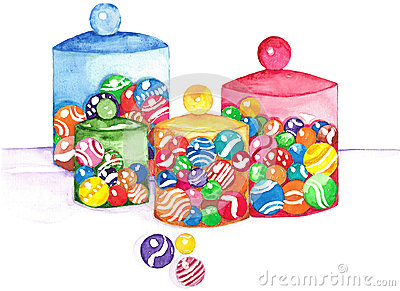 Marbles in Jars Watercolor