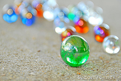 Marbles on sidewalk