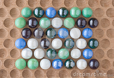 Marbles on Wood