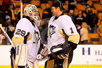 Marc-Andre Fleury and Brent Johnson Peguins (NHL) Editorial Stock Photo