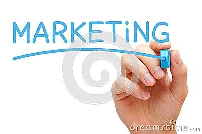 Marcador azul de comercialización