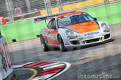 Marcel racing at Porsche Carrera Cup Asia Editorial Stock Image