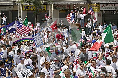 March for Immigrants and Mexicans Editorial Stock Image