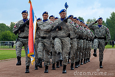 March of Serbian flag unit Editorial Image