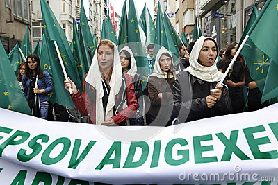 March to protest Circassian genocide Editorial Stock Photo