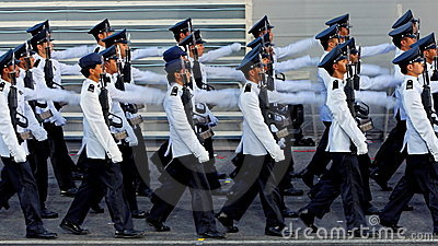 Marcha contingente da Guardar--honra durante NDP 2009 Foto de Stock Editorial