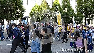 Marcha ecológica joven generación Vancouver Canadá Septiembre 2019 metrajes
