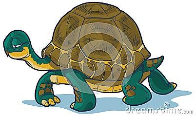 Marche de tortue de bande dessinée