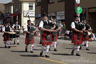 Marching bagpipes band Editorial Stock Image