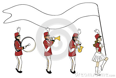 Marching band with blank banner