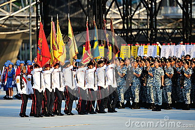 Marching in of colors party during NDP 2012 Editorial Stock Photo