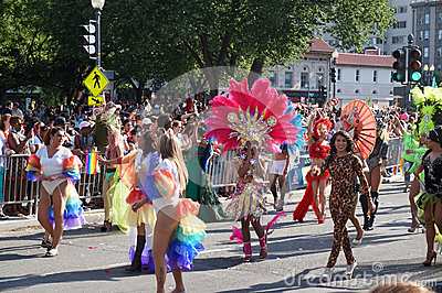 Marching Drag Queens at the Parade Editorial Photo