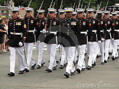 Marching Marines Editorial Stock Image