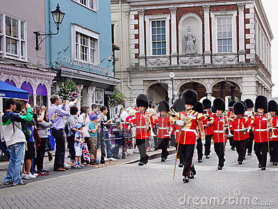 Marching Military band in Royal Windsor Editorial Stock Image