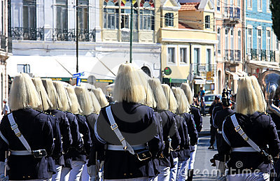 Marching soldiers during changing guard, Belem Editorial Stock Photo