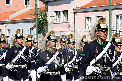 Marching soldiers during changing guard, Lisbon Editorial Photography