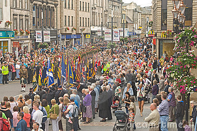 Marching to the Highland Games. Editorial Photo