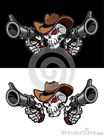 Marchio dell illustrazione del cranio del cowboy