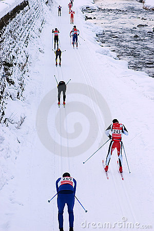 Marcialonga, group of skiers Editorial Stock Photo