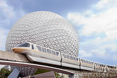 Epicot s Marck VI monorail and Spaceship Earth Editorial Stock Photo