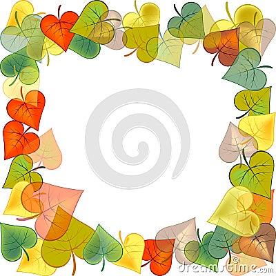Marco de la foto con las hojas de otoño