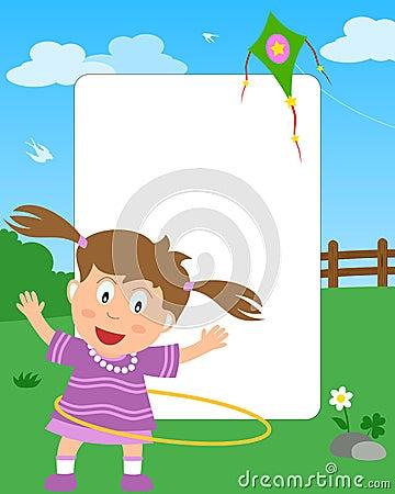 Marco de la foto de la muchacha del aro de Hula