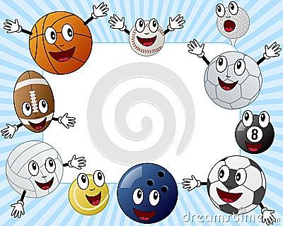 Marco de la foto de las bolas del deporte