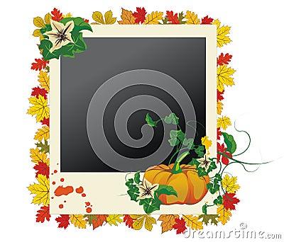 Marco de la foto del otoño con las hojas y la calabaza