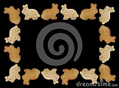 Marco de las galletas del conejito de pascua