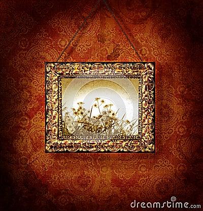 Marco dorado en el papel pintado antiguo foto de archivo - Papel pintado antiguo ...