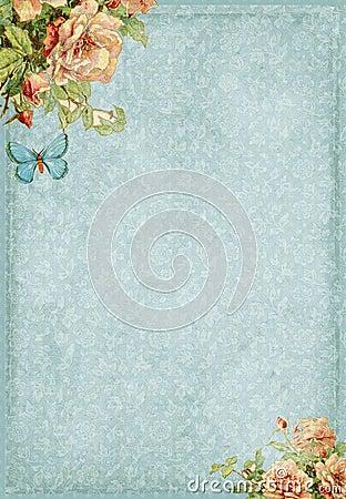 Marco elegante lamentable dulce con las flores y la mariposa