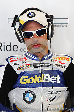 Marco Melandri #33 on BMW S1000 RR with BMW Motorrad GoldBet SBK Team Superbike WSBK Editorial Stock Image
