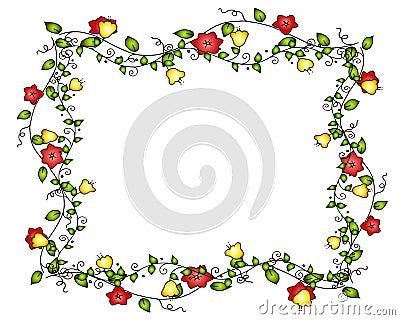 Marco o frontera de la vid de la flor