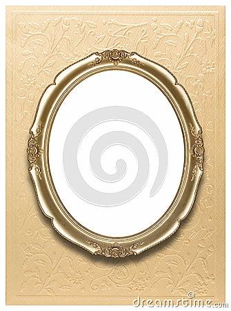 Marco oval en el papel pintado de oro