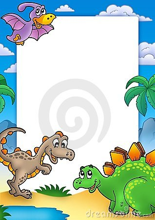 Marco prehistórico con los dinosaurios
