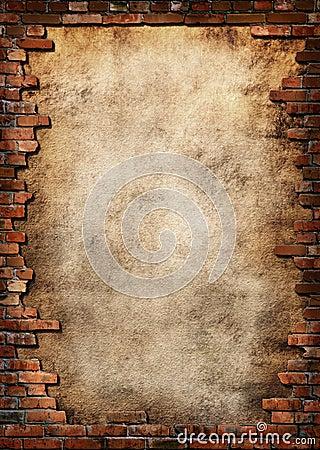Marco sucio de la pared de ladrillo