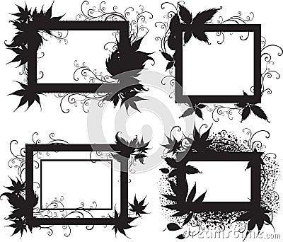 Marcos negros con las hojas del otoño. Acción de gracias