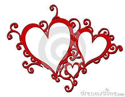 Marcos rojos decorativos de los corazones que remolinan