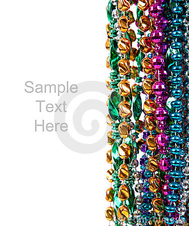 Free Mardi Gras Beads On White With Copy Space Stock Image - 12189341